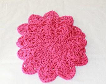 Multi-Use Crocheted Dishcloth Set - Cotton Dishcloth Set - Doily - Set of 3 - Hot Pink