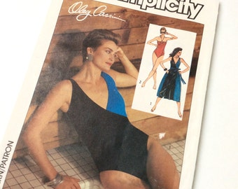 1980s One Piece Swimsuit and Cover Up Sewing Pattern, Simplicity 6884, Oleg Cassini for Simplicity, Size 6 8 10, Uncut