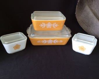 Pyrex Butterfly Gold fridge set - Vintage Pyrex - Vintage Gold Pyrex - Retro Kitchen