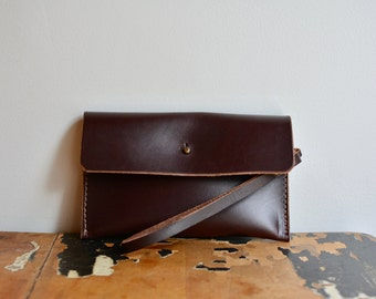 Bridle Leather brown button clutch