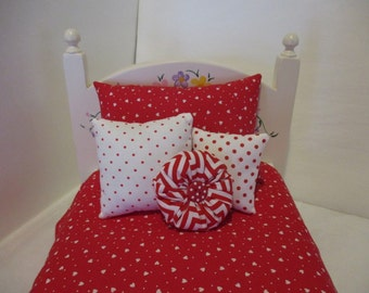 American Girl Doll Bedding Red and White with Hearts and Polka Dots