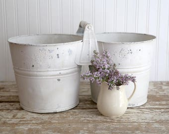 Vintage Double Galvanized Buckets, Vintage Farmhouse Decor, Country Home Decor, Double Galvanized Pails, Fixer Upper Decor