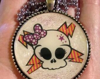 Sugar Skull Skullette Necklace-Day of the Dead Skull-Purple Bow-Handmade Resin Pendant Jewelry
