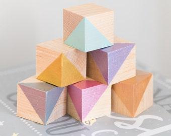 Baby Blocks / Wooden Blocks / Nursery Decor / Metallic Painted Blocks / Playing Blocks