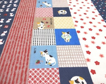 Japanese Traditional Fabric KOKKA Cat Blue Fat Quarter