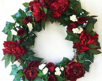 Burgundy silk flower wreath, Red peony, Grapevine wreath, Front door decor, Floral red burgundy,
