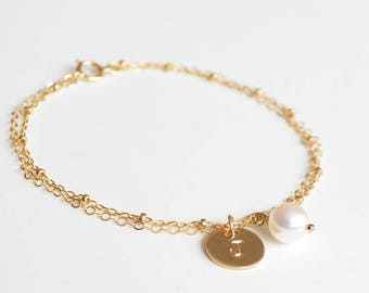 Gold Filled Personalized Pearl Bracelet-Bridesmaid Wedding Gift Bracelets Set-Satellite/Beaded Chain Initial with Freshwater Pearl Bracelet