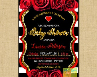 Red roses baby shower gold glitter, red Roses baby shower silver glitter, Valentines Baby Shower, Valentine Baby Shower Invite, Roses baby