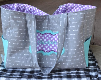 Personalized Handmade To Order Mega Mom's Diaper Bag (grey arrows, teal blue and purple polka dots )