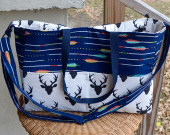 Handmade  busy mom's Aztec,woodland, arrow, deer diaper bag with adjustable side straps