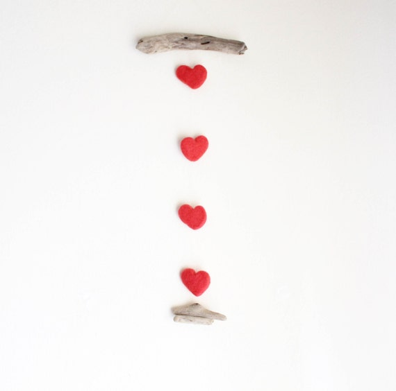 Driftwood Hanging with Felt Hearts -- Coral Hearts -- Rustic Nursery Wall Decor -- Wooden Hanging -- Ready to Ship {Custom Order for Naomi}