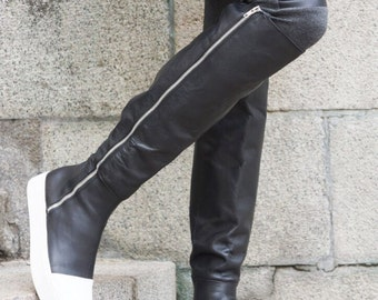 """NEW Collection Winter  High Zipper Boots All Genuine Leather  / Casual  Extravagant """"Must Have"""" Unique Shoes by AAKASHA A21346"""