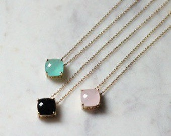 Pink Designer Inspired Cushion Cut Gold Chain Necklace Kate