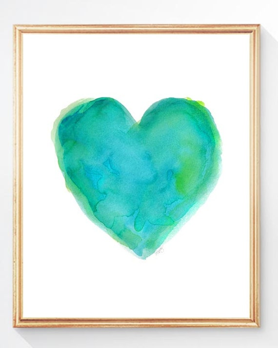 Turquoise Heart Watercolor Print, 8x10