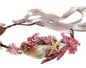 Mermaid Head Piece- Beachy Wedding Headpiece-Little Mermaid Crown- Seashells Flower Crown-Starfish, Ribbon, Ocean Circlet- Costume