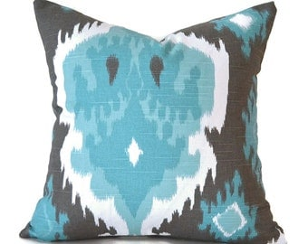 Pillow Covers Decorative Pillows ANY SIZE Pillow Cover Ikat Pillow Turquoise Pillow Ikat Spirit