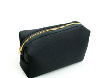 Small Zipper Pouch Black Mini Make Up Bag Everyday Toiletries Washable Make Up Pouch