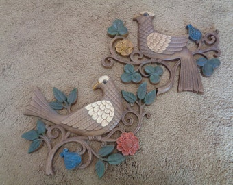 Vintage SYROCO, Birds on a Branch, Set of Two, Wall Hangings