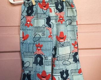 Vintage 70s cowgirl-cowboy bellbottoms- baby pants, toddler pants- western pants, lasso, cowboy hat- size 12M