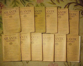 Full Year 1919 The Atlantic Monthly Magazines January - December published By Atlantic Monthly Boston, Antique Magazines with lots of Ads