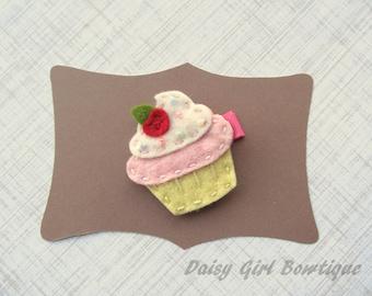 Felt Cupcake Hair Clip - Cupcake Hair Clippie - Cupcake Hair Barrette - Felt Hair Clips - Cupcake Birthday Barrette.