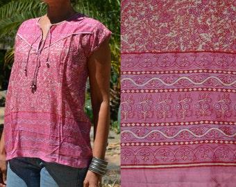Vtg 70's India NWOT Deadstock Boho pink floral block print sheer THIN cotton gauze cap sleeve tunic top blouse sz S//M