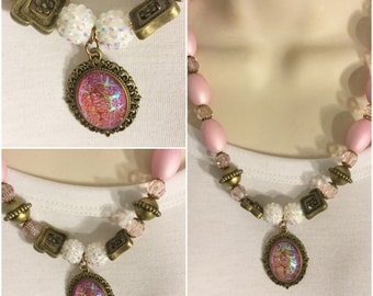 Pink Vintage Cameo Necklace