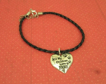 "On Sale for Mothers Day, Gift for Mother, Grandmother Black Faux Braided Leather Bracelet, 7-1/2"" Sterling Charm ""All My Children Have Paws"""
