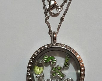 IT WORKS Distributors - Rep your Black, Green & Bling - Locket, Charm Necklace with Chain - IWG - floating charms, living locket