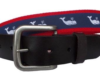 White Whale Leather Belt / Leather Belt / Canvas Belt / Preppy Webbing Belt for Men, Women and Children/White Whale Leather Belt on Red