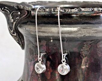 Long CZ Dangle Earrings | Sterling Silver Long Earrings