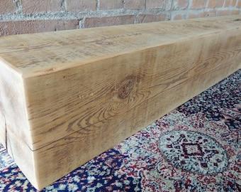 "Barn Beam Mantel 84"" x 8"" x 8"" - Reclaimed Fireplace Mantel - Rustic Mantle Shelf - Antique Barnwood Shelf - Home Decor - Rustic Decor"