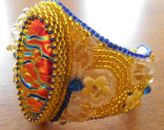 OOAK Sunshine Yellow Dichroic Fused Glass, Swarovski Crystal and Ceramic Flower Bead Embroidered Cuff