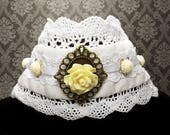 Gothic Rose Choker bronze key white lace flower necklace Victorian lolita fashion
