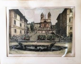 REDUCED Vintage Italian, Silk, Hand Painted, Framed, Spanish Steps, Piazza di Spagna