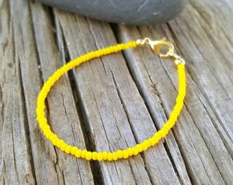 lemon yellow bracelet tropical beach zesty lemon summer vacation seed bead cruise wear