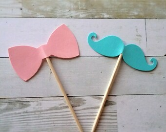 Mustache & Bow Cupcake Toppers -gender reveal ideas- Party Supplies - Baby Shower - Little Man - Gender Reveal