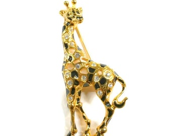 Vintage Swarovski Enamel Gold and Black Giraffe Pin / Brooch