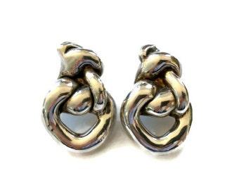 Vintage Modernist Silver Cast Earrings Free Form Knot