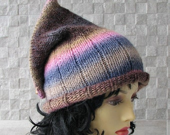 Pixie Hat, Boho Beanie, Knit Gnome Hat, Bohemian Elf Hat, Women Fashion Girl, Spring Accessories