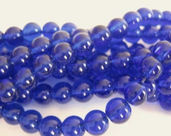 6mm Round Cobalt Blue Glass Beads Transparent Full Strand