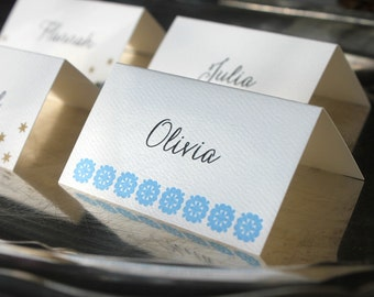 Letterpress Place Cards with Blue Flower Ornament