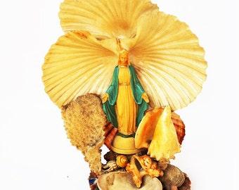 Vintage Italian Virgin Mary Seashell Statue,Hand Made Seashell Statue Madonna,Religious Shell Art Statue