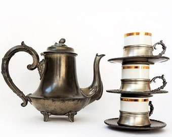 Antique  English Coffee Pot James Dixon and Sons, Victorian Sheffield Pewter Coffee Pot and 3 cups.