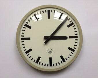 "14"" diameter Vintage German Industrial wall clock from TN. 1970s. Gray Rim.  Made in Germany. 2017-005"