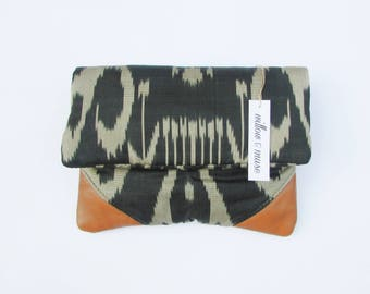 Handwoven silk clutch ikat purse handbag leather purse Fold over clutch bag brown leather bag