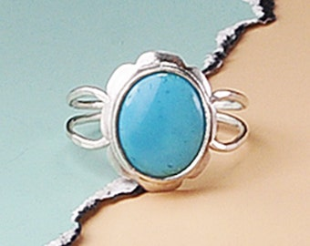 Turquoise Silver Ring, Blue Turquoise, Robins Egg Blue Ring, Turquoise Jewelry, Sterling Silver and Turquoise, Handmade Ring, December Ring