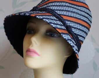 OLEG CASSINI 1960'S Fabulous Designer Hat in Navy and Orange   Fab condition