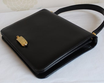 VINTAGE RIGHINI of ITALY Black Leather Handbag with Gold clasp .Gorgeous.