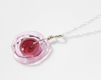 Pink Glass // Pink Jewelry // Disc Pendant Necklace // Disc Necklace // Pink Gifts // Lampwork Jewelry // Glass Jewelry // Glass Necklace
